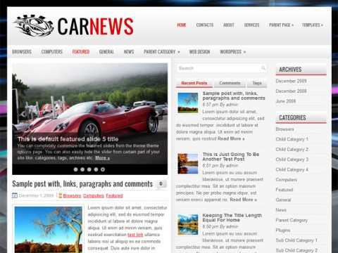 Free CarNews -  WordPress Theme
