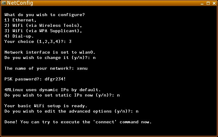 4mlinux how to connect to internet