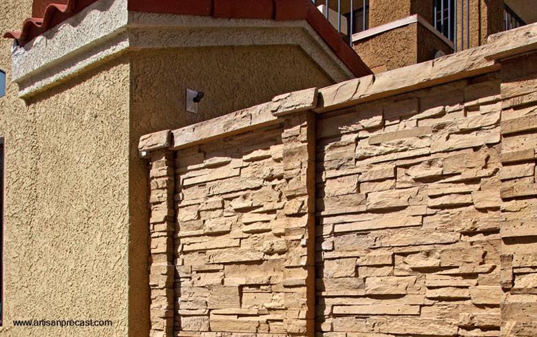 Arquitectura de casas muros exteriores y perimetrales de - Piedra artificial para interiores ...