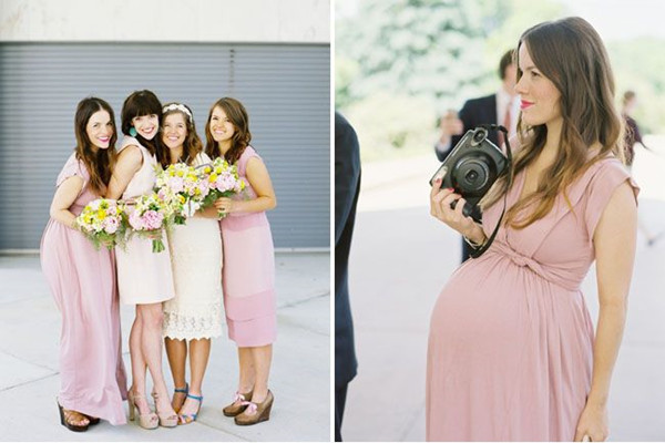 Nude pink maternity bridesmaid dress