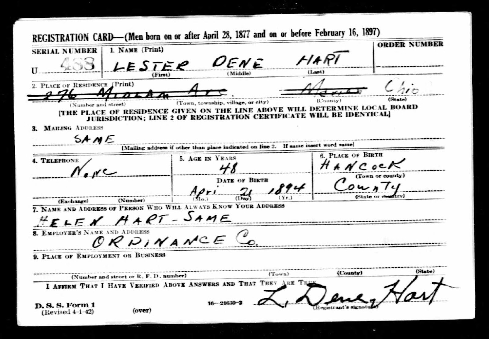 Climbing My Family Tree: WWII Draft Registration Card for Lester Dene Hart, front page