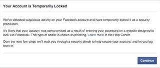 رسالة حذف حسابك من الفيسبوك