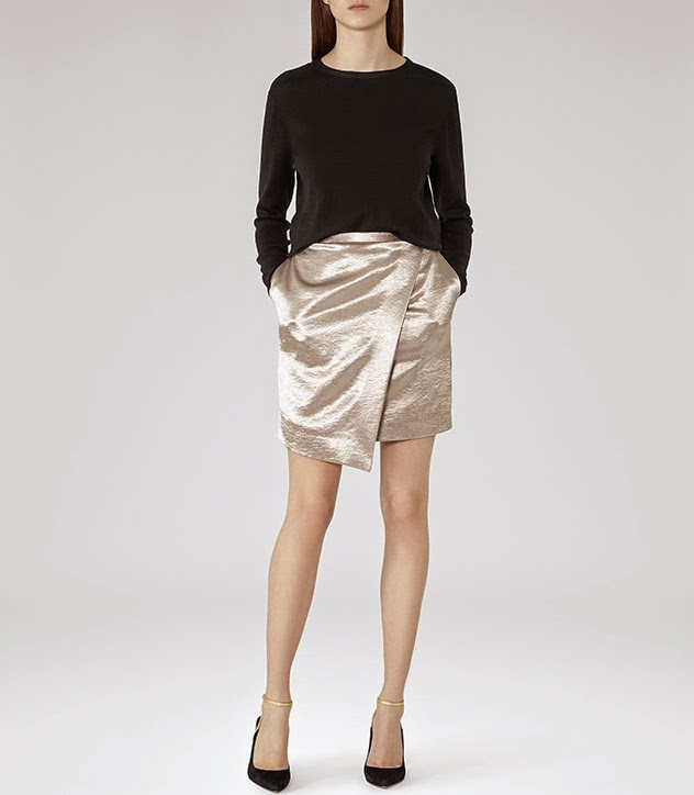 reiss gold skirt, reiss wrap skirt, reiss skirt pockets,