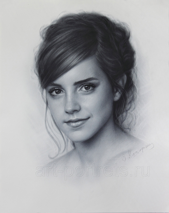 09-Emma-Watson-Harry-Potter-Igor-Kazarin-Painting-and-Drawing-Portraits-with-Dry-Brush-www-designstack-co