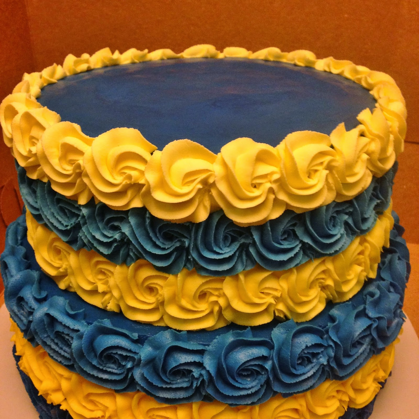 Cakes by Mindy: Blue and Yellow Rosette Wedding Cake 10\