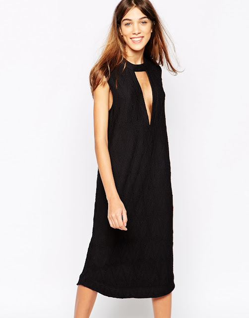 Ganni black midi dress, ganni black neck dress,
