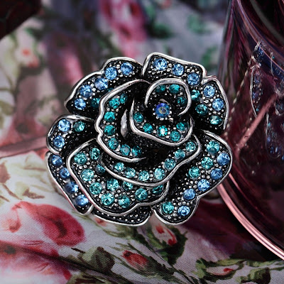 sterling sliver large flower rings rose
