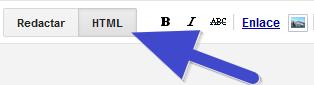 alternar edición en modo HTML o modo Redactar