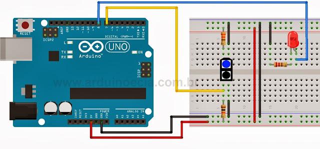 Circuito interruptor óptico com TCRT5000 Arduino