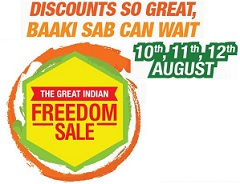 Amazon The Great Indian Freedom Sale from 10th Aug to 15th Aug'15 (Starts @ 8 AM)