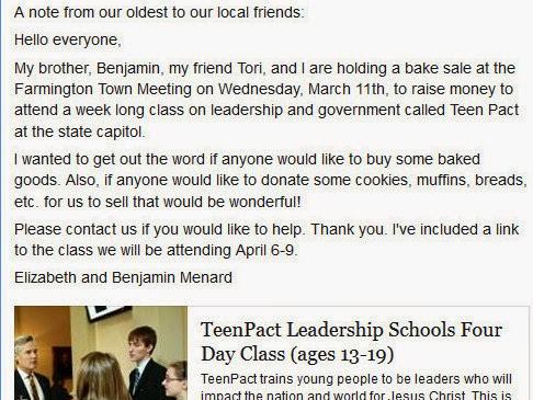 FYI-Money Raised Going To Teen Pact