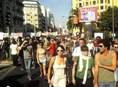 Revolução Portuguesa 15 de Outubro Lisboa Portugal Manifestação na Rua Brancamp