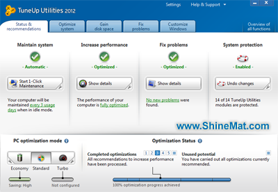 TuneUp Utilities 2012 Front Interface