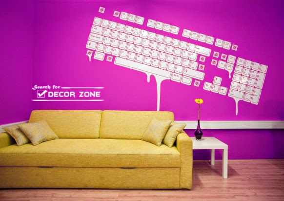 Small Office Decorating Ideas With Keyboard Wall Stickers