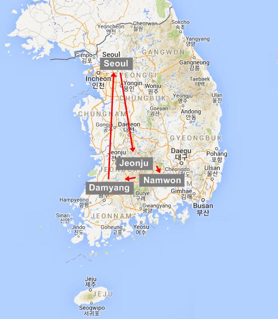 Korea Free And Easy Tour Sweetravel Koreacom SWEETRAVEL KOREA - Jeongju map