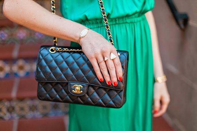 Chanel flap bag Kendra Scott two-finger ring