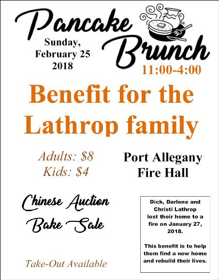 2-25 Pancake Brunch Lathrop Benefit