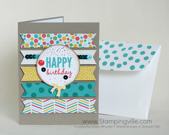 Colorful birthday card using Stampin' Up! Celebrate Today stamp set and coordinating Balloon Framelits Dies.