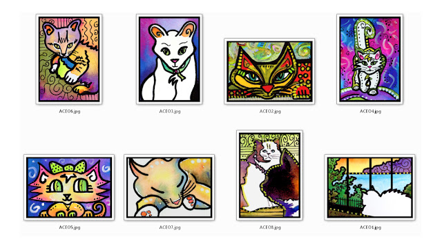 Cats Kittens ACEO Art Cards by Lynne Neuman