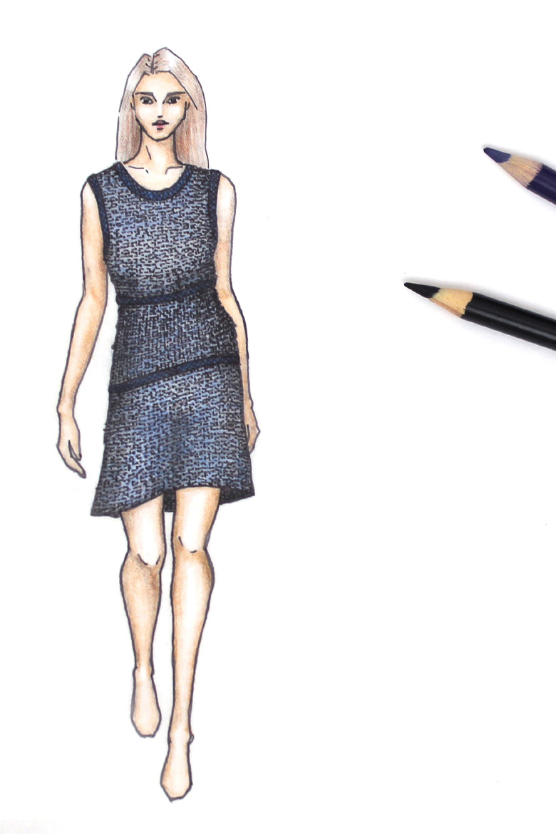 Contrast trim dress sketch