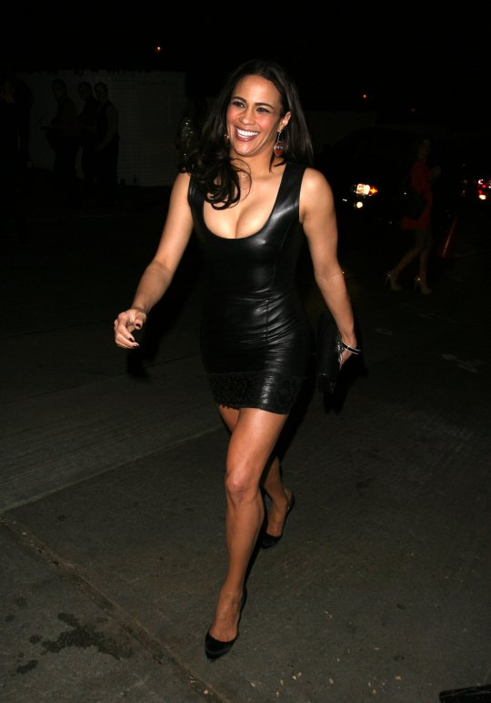 Paula Patton Hot In A Skintight Black Leather Minidress1