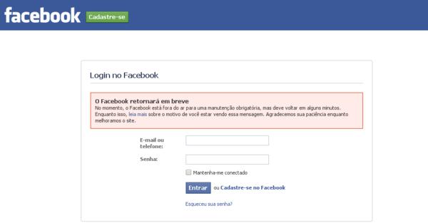 Mensagem de manutenção do facebook