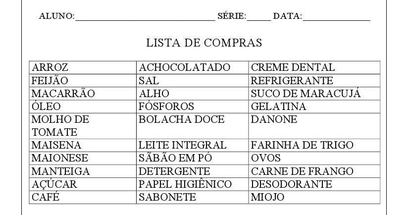 Famosos VARAL DE ATIVIDADES: LISTA DE COMPRAS AH45