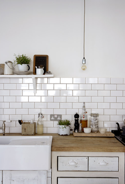 Lost and found interiors - White kitchen brick tiles ...