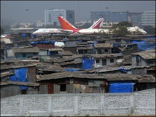 Slum dwellers near Mumbai Airport, India