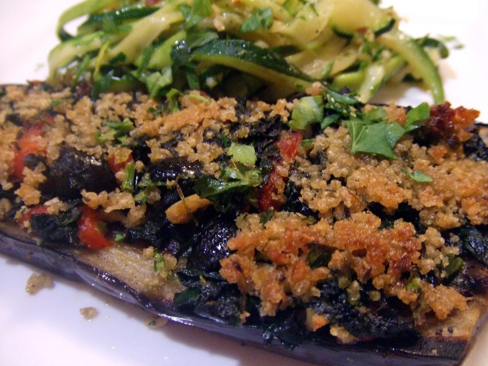 Mediterranean Grilled Eggplant Steaks with Zucchini Linguine Aglio ...