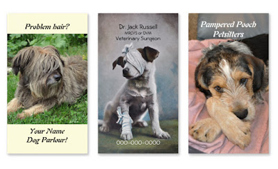 Dog photo business cards vertical templates