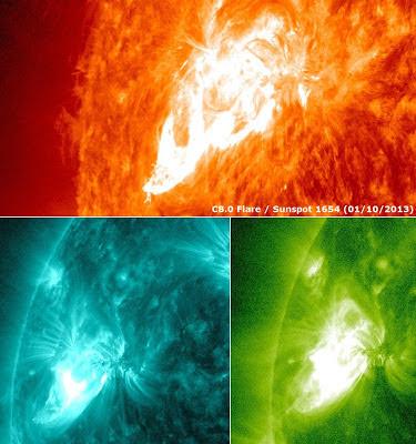 Llamarada solar C8.0, 10 de Enero 2013