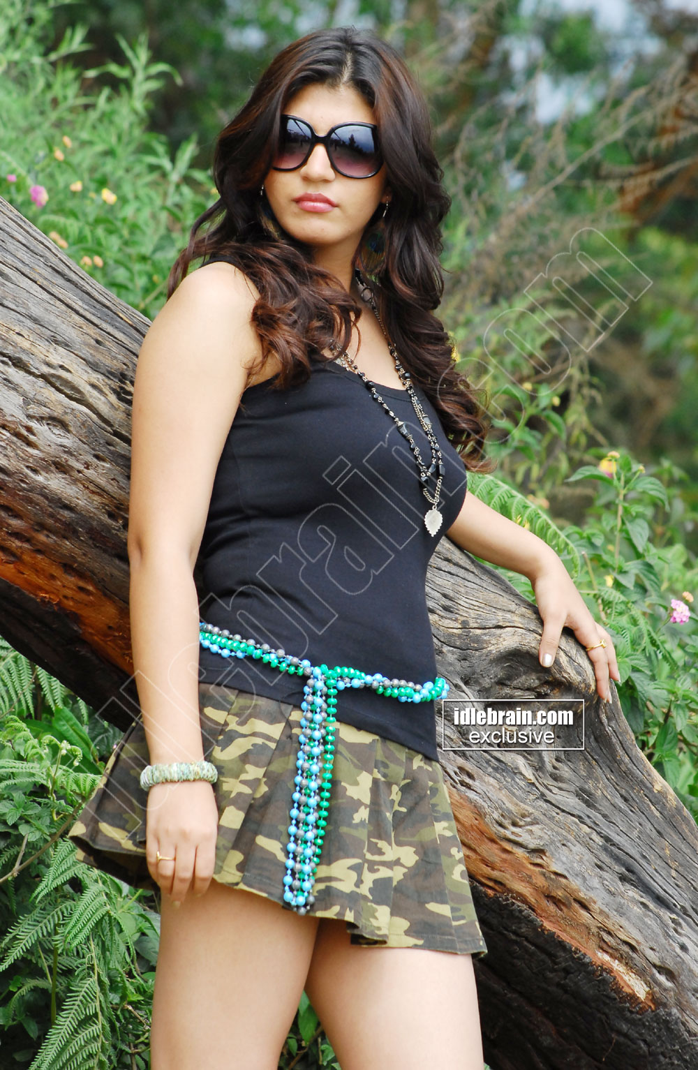 Sarah sharma in army skirt and black tank top -  Sarah Sharma HOT PICS in ARMY SHORT SKIRT!!!