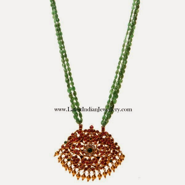 Emerald Beads Haram Ruby Pendant