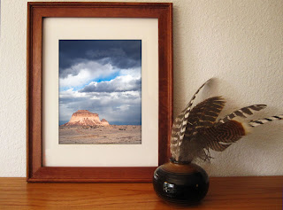 Two buttes rise above the high plains of Colorado