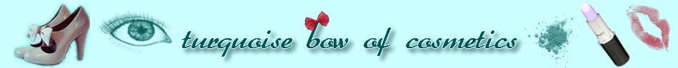 turquoise bow of cosmetics
