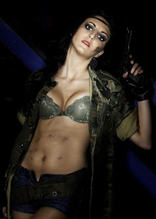 Army girl with a gun
