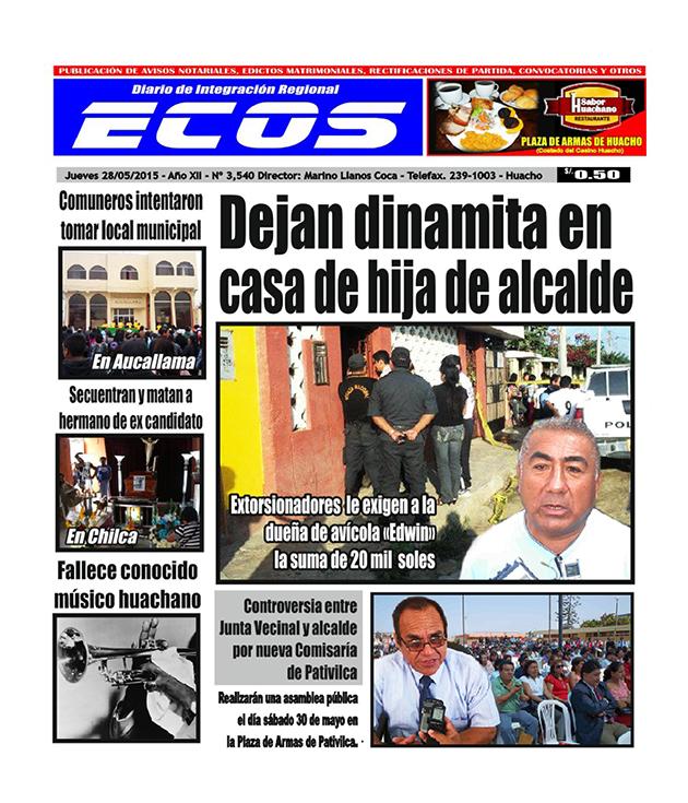 Esta es la edición del Diario ECOS jueves 28 de mayo del 2015