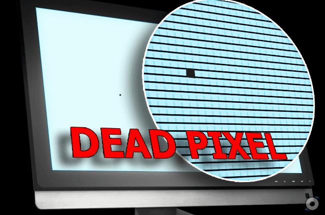 layar dengan dead pixel zoom