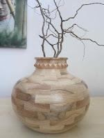 large vase handmade walnut wood