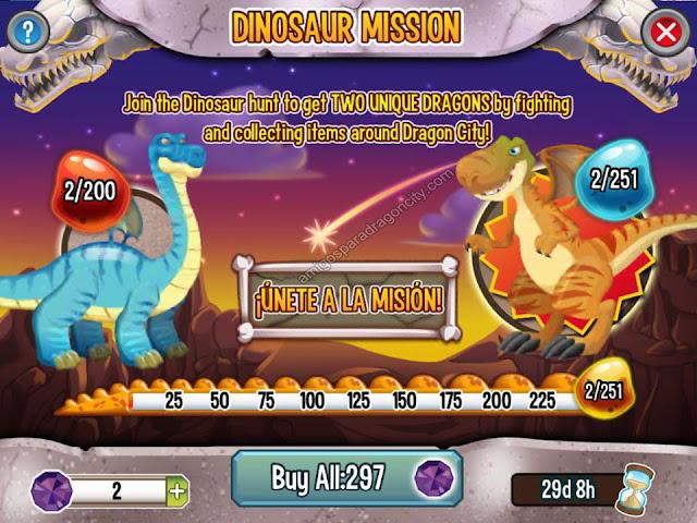 imagen del progreso de la mision dinosaurio de dragon city para ipad