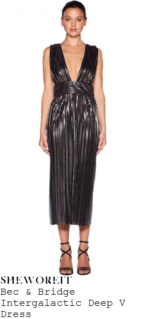 nicole-richie-metallic-plunge-front-sleeveless-midi-dress-jimmy-kimmel