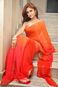 Sony Charista Glamorous in Saffron saree-thumbnail-17