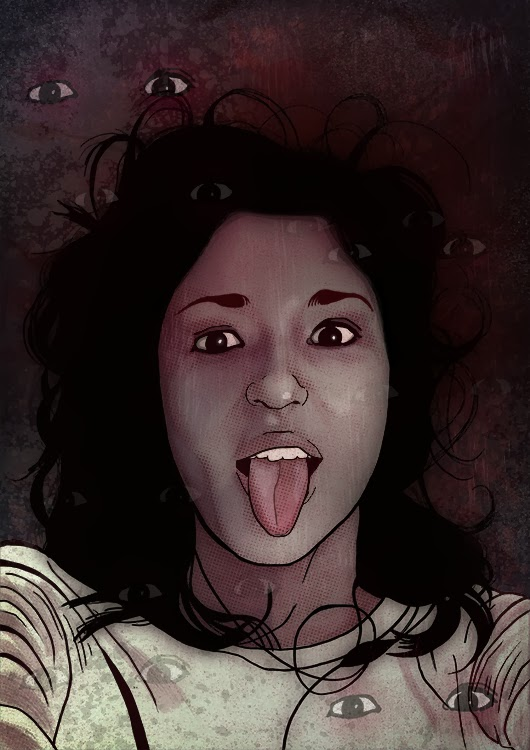 Selfie girl sticking out tongue illustration