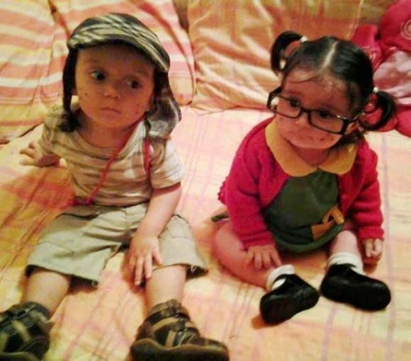 Niños disfrazados del Chavo del 8 y la Chilindrina
