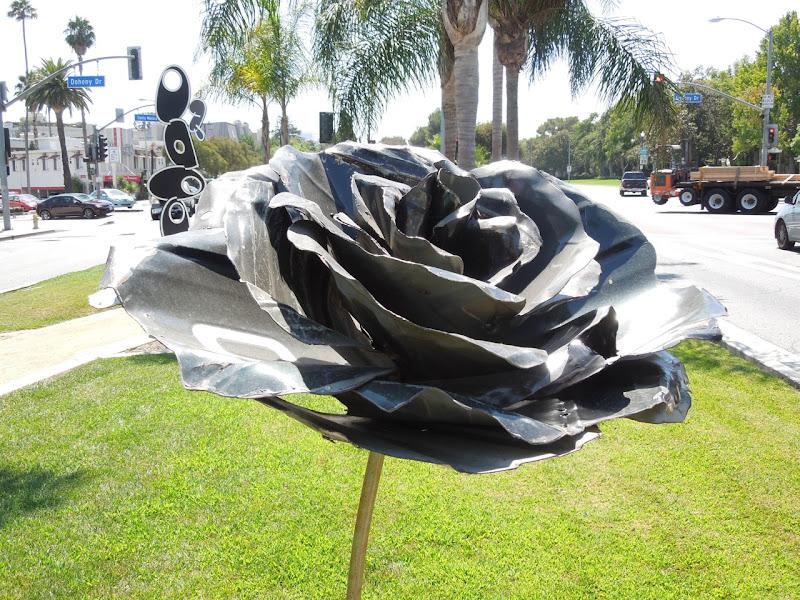 Standing Rose sculpture Michael Kalish WEHO