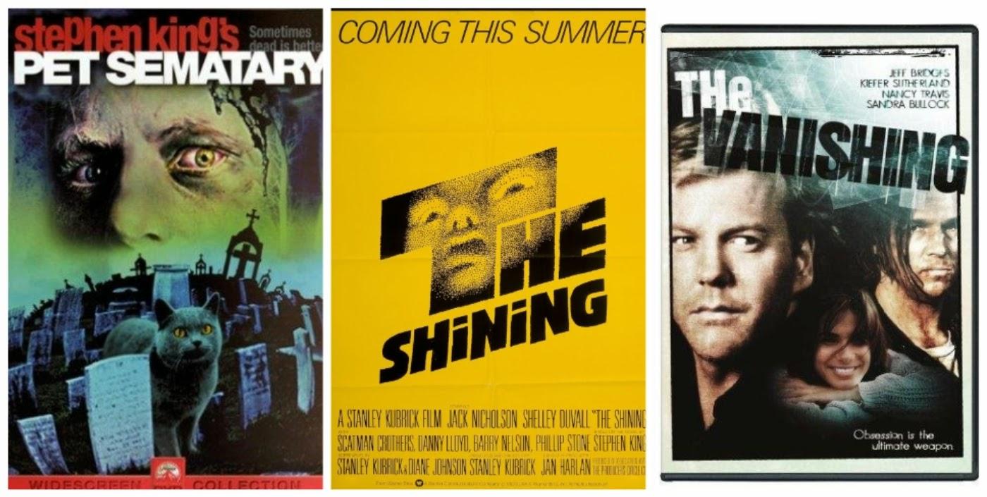 cartazes dos filmes: Cemitério Maldito (1989), O iluminado (1980) e Silêncio do Lago (1993)