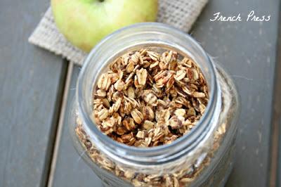 overhead  shot of apple pie granola in jar