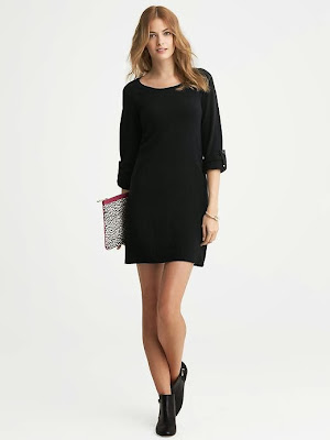 bol kesim siyah triko elbise, kısa elbise