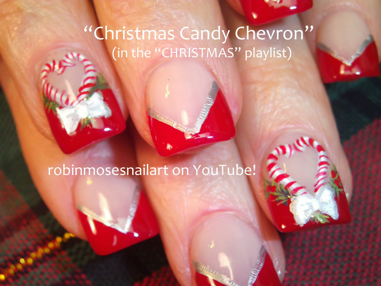 Christmas Wreath Finger Nail Polish As Well As Red Christmas Nail Art ...